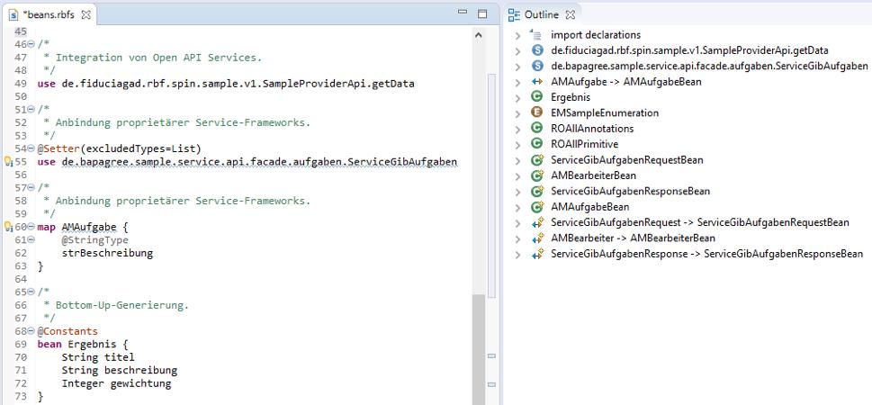 Screenshot der Fiducia RBF-Service-DSL im Editor und der Modell-Outline