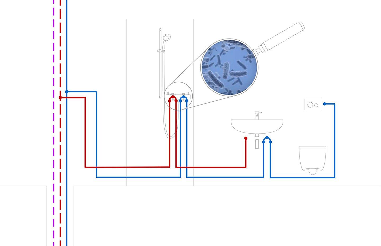 Illustration eines Wasserkreislaufs in Gebäuden. Eine Lupe die vergrößert die Anwesenheit von Bakterien symbolisiert macht auf das Problem von Stagnationswasser aufmerksam