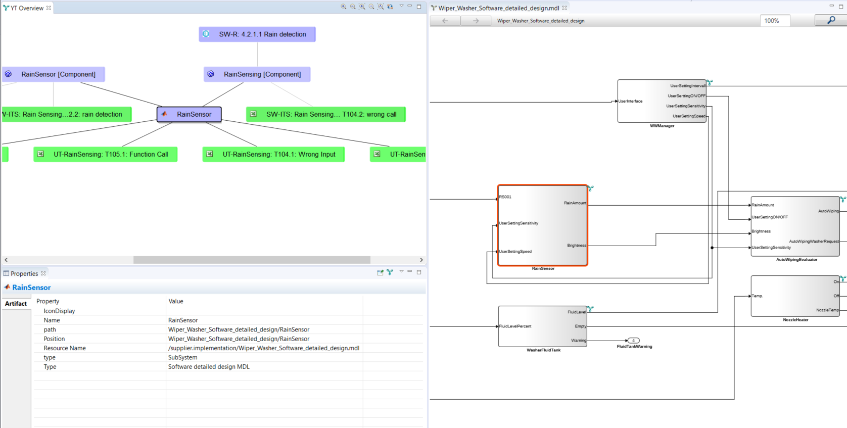 Visualization of a Simulink model with traces in YAKINDU Traceability