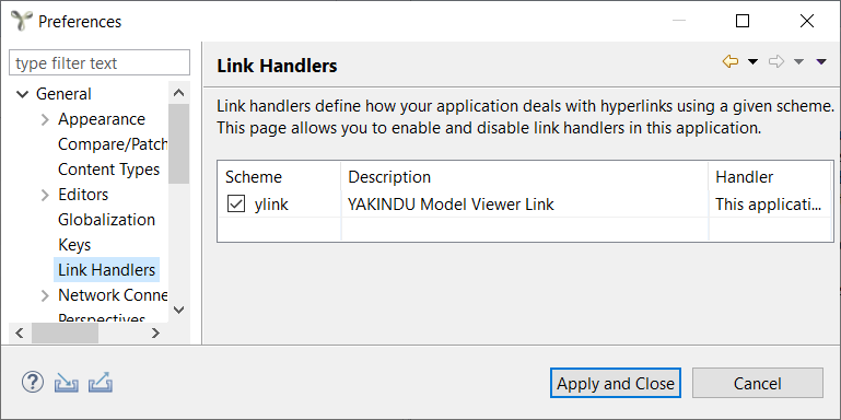Activate link handling on the preference page