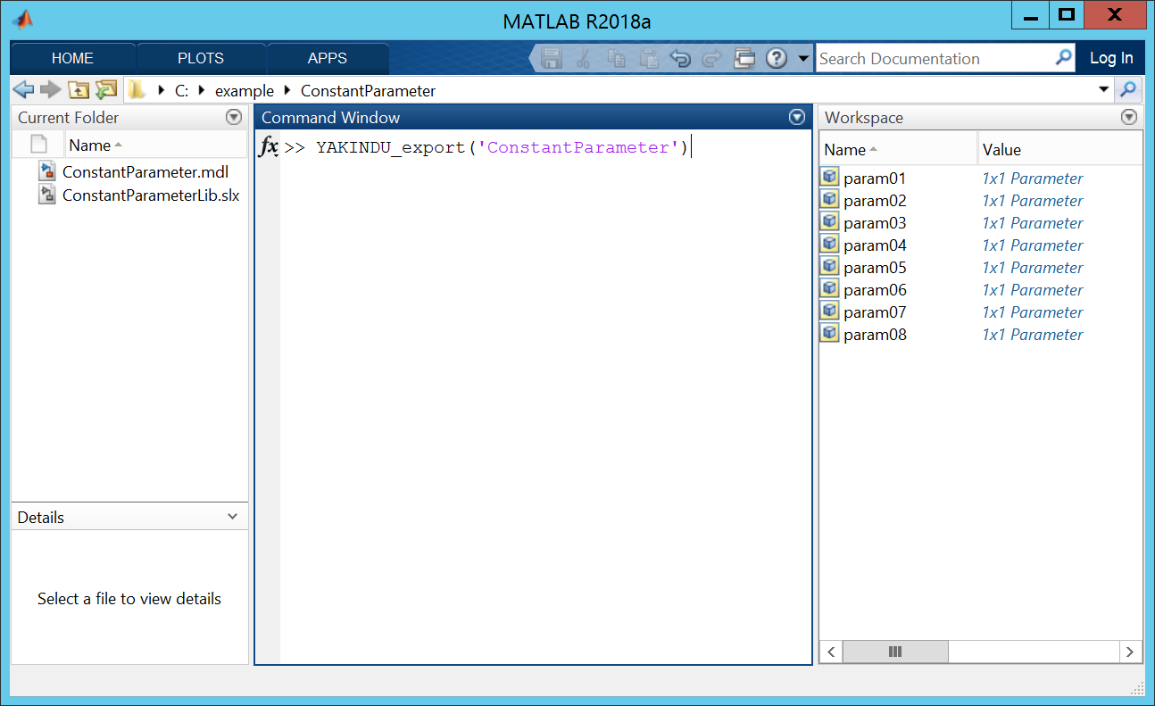 Entering the export command on the Matlab command-line