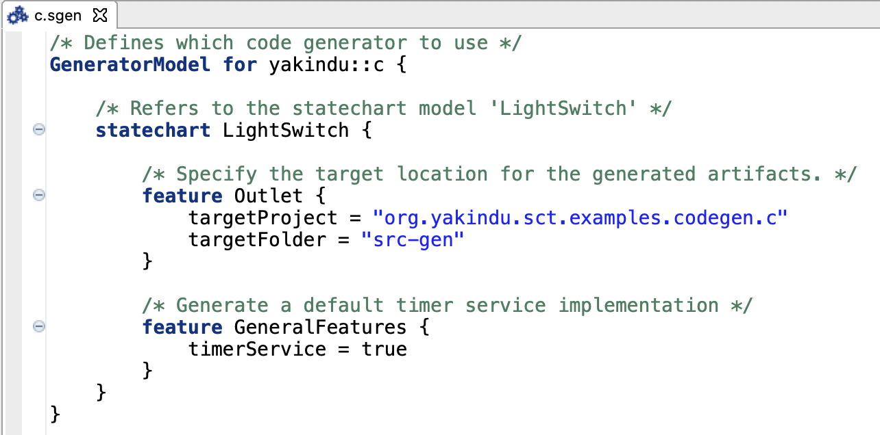 Sample generator model for the C code generator