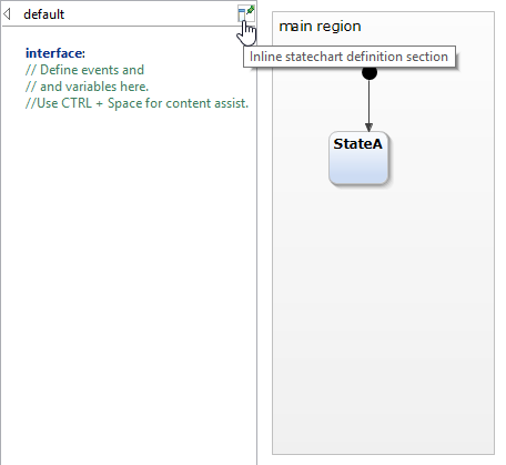 Inlining the statechart diagram definition section