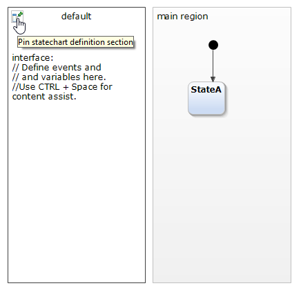 Pinning the statechart diagram definition section