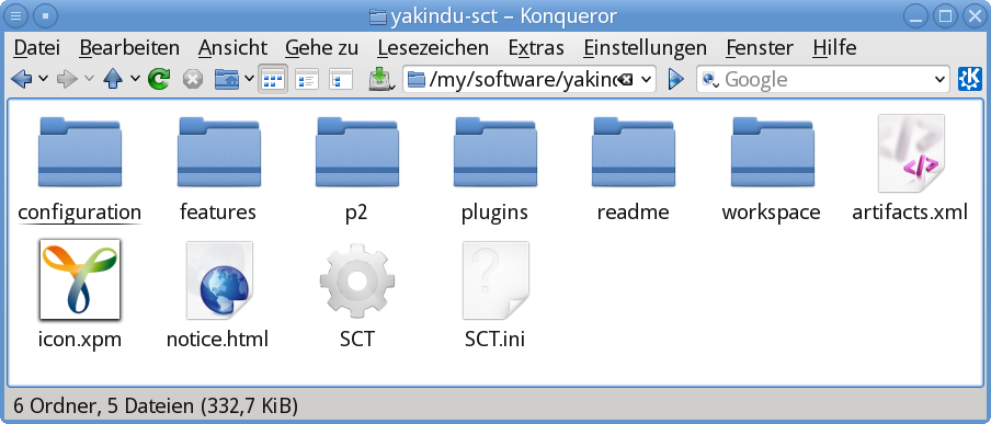"Contents of the extracted ""yakindu-sct"" folder"