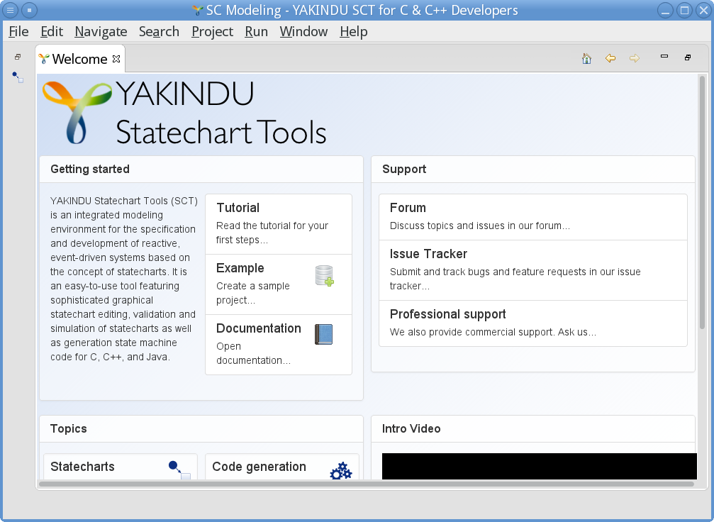 "YAKINDU Statechart Tools presenting the ""Welcome"" window"