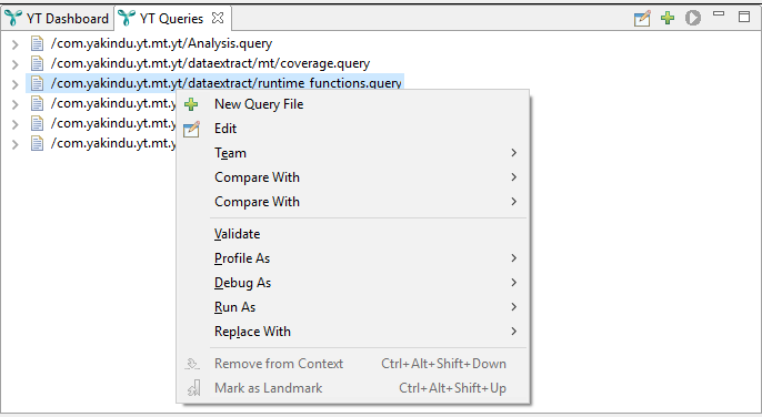 Query file context menu with edit button