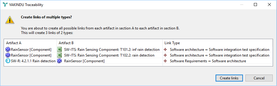 Link creation confirmation dialog